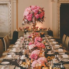 awesome vancouver wedding This floral-coated #tablescape delivers a serious dose of glamour with the perfect combo of short and tall #centrepieces. Not to mention the hot pink blooms- what's not to love? See more on WedLuxe.com today! (photo: @shariandmike, planning and decor design: @dreamgroupplanners, floral design: @flowerzinc) by @wedluxe #vancouverwedding #vancouverweddingdecor #vancouverwedding