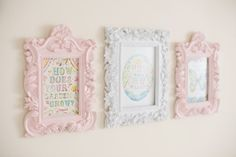 Love these elegant frames in coordinated colors, with the sweet wall art centers!
