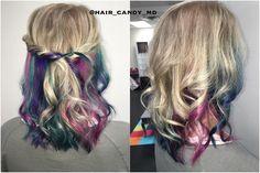 """#nowyouseeit #nowyoudont #welllkinda #rainbowhair #underlights #haircandyllc"""