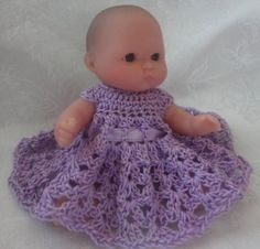 Free Doll Dress Crochet Pattern for Berenguer Baby 5 Inch or OOAK Clay Dolls