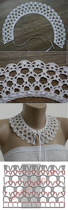 Воротник крючком.... Pretty collar,and not too difficult to crochet!
