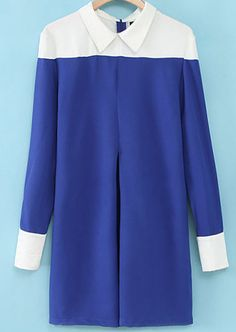 To find out about the Blue Contrast Lapel Long Sleeve Loose Dress at SHEIN, part of our latest Dresses ready to shop online today! Hijab Style, Hijab Chic, Hijab Fashion, Fashion Outfits, Womens Fashion, New Mode, Inspiration Mode, Sweet Dress, Colorblock Dress