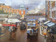 """""""Like this painting. DrS would want it too but its my site! The artist is given as Trevor Mitchell hope that's right"""" Bus Art, Nostalgic Pictures, Vintage Illustration Art, Truck Art, London Bus, Cartoon Art Styles, Puzzle Art, Country Art, Car Painting"""