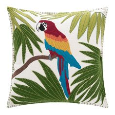 Discover the Jan Constantine Tropical Parrot Cushion - Cream at Amara