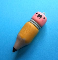 Happy Pencil Pendant Polymer Clay Charm Kawaii by TheHappyAcorn, $20.00