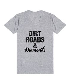 Look at this Skreened Heather Gray 'Dirt Roads & Diamonds' V-Neck Tee - Women on #zulily today!