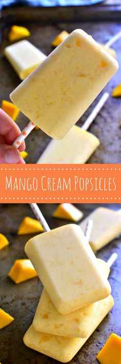 These Mango Cream Popsicles are fruity, creamy, and so delicious! They come together in minutes and are the perfect way to cool off on a hot summer day!