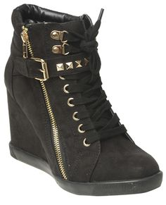 Studded Strap Wedge Sneaker from Wet Seal. Wet seal is surprisingly cheap!!