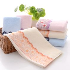 Fashion Home Textile Cotton Flower Face Towels For Adults Home Kitchen High Quality Towels Serviette 3 Color Face Towel, Bathroom Towels, Jacquard Weave, Home Textile, Home Kitchens, Textiles, Flowers, Hair, Cotton