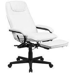 Flash Furniture High Back White Leather Executive Reclining Swivel Office Chair Reclining Office Chair, Leather Recliner Chair, Swivel Office Chair, Chair And Ottoman, Upholstered Chairs, Chair Cushions, Chair Pads, Used Office Chairs, Executive Office Chairs