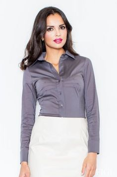 Retro Style Red Short Sleeve Collared Button Up Blouse – Unique Vintage Office Fashion, Retro Fashion, Women's Fashion, Pretty Shirts, Sexy Blouse, Brunette Beauty, Satin Blouses, Office Looks, Grey Shirt
