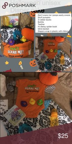 Don't scare me unisex Halloween diaper cake Don't scare me I poops easily onesie  Stuff pumpkin  3 rubber ducks Botttle Teether It's Betsy spider book Mink blanket  Diapers wrap in plastic with ribbon Accessories