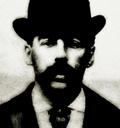"""1895 mugshot of Herman W. Mudgett, alias H. H. Holmes, """"an old hand at corpse manipulation and insurance fraud."""""""