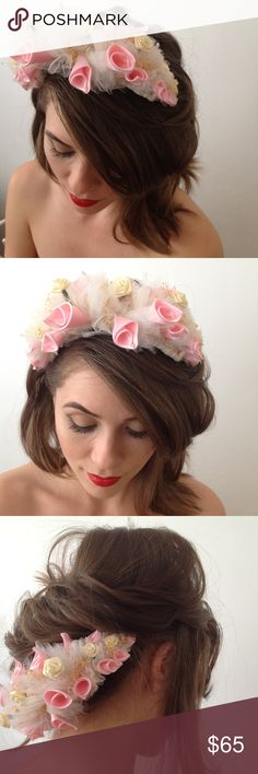 Coachella Flower headband wedding crown The most unique accessory, especially for a wedding or fun occasion. Tulle, fabric roses, as a bouquet together on clear hair combs. Multiple ways to wear it, top, side, back. You'll never see anything like it, such beautiful craftsmanship, not like anything store bought today! Accessories Hair Accessories