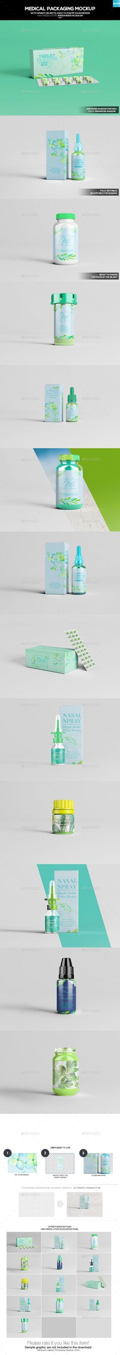 Medical Packaging Mockup by Wutip FeaturesWith smart objects, easyto paste your design13 Pre made psd files High resolution 4000x4000 pixel/300 DPI Changeable Backg