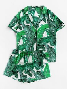 Palm Leaf Print Revere Collar Pajama Set -SheIn(Sheinside)