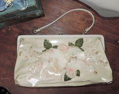 Silk Flowers Under Clear Vinyl - Vintage 1960s Large Ivory Purse