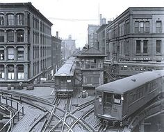 Photograph of trains in Chicago, ca. 1910-1950.