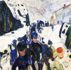 Edvard Munch Walking in Snow, 1912 Edvard Munch, Paintings I Love, Colorful Paintings, Expressionist Artists, 1920s Art, Colored Highlights, Sculpture Art, Printmaking, Minion