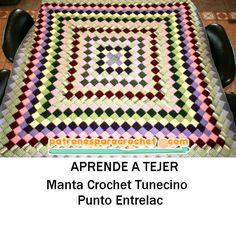 como se teje un cubrecama en crochet tunecino