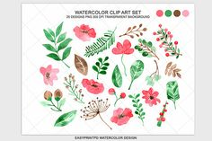 Check out Floral Watercolor Clip Art Set by pdeasyprint on Creative Market