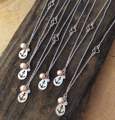 Custom bridesmaid necklaces for a nautical themed wedding by Earthstar Studio