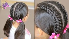 How to Line Braid into Pigtails | Braided Hairstyles | Cute Girly Hairstyles - YouTube