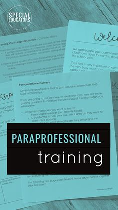 Paraprofessional Binder with handout pages PLUS training tips on HOW to set up your paraprofessionals for success. From Positively Learning Blog #specialeducation #paraprofessionaltraining @paraprofessionalmanual