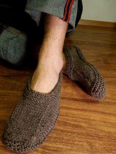 MEN SLIPPER SOCKS. Natural brown organic hand knit wool socks slippers for men or women. Handmade to order