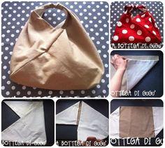 Come fare una borsa origami in stoffa. Un tutorial con le spiegazioni in italiano, dettagliatissimo, proprio pensato dalla sua autrice per chi è alle prime armi.   (la versione a pois la adoro con tu