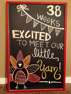 Weekly Pregnancy Chalkboard Tracking - Festiveness on Holidays {Thanksgiving} Pregnancy First, Pregnancy Early