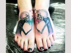 Skeleton tattoos on feet