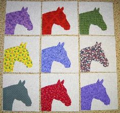 Set of 9 Bright Horse Quilt Blocks *Free Shipping