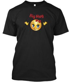 Hugging Hands Blush Face Emoji T Shirt Black T-Shirt Front