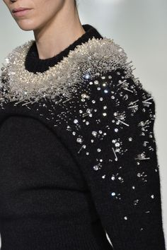Embellished knitwear with crystals, pearls & silver tube beads - dimensional surfaces; fashion details // Balenciaga