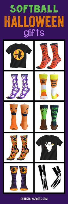 Our softball Halloween gifts are perfect for softball girls to show some Halloween spirit during practice or wherever they go! Softball players, softball moms, and softball fans will love our zombie socks and witch socks because they are extra comfortable and uniquely designed. We even offer witch t-shirts, ghost socks, and skeleton arm sleeves! Find these great Halloween softball products and more at ChalkTalkSPORTS.com!