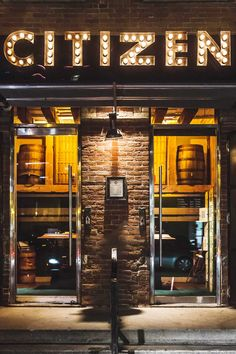 Located on Brant Street near King West, The Citizen's wide open space features a lounge area, large bar and comfortable dining room with quirky, sports club touches. Bar Lounge, Lounge Areas, Store Fronts, Fine Dining, Citizen, South Carolina, Ontario, Aztec