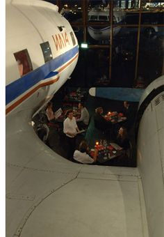 The restaurant that has an airplane inside of it.