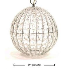 """Super Big """"Crystal"""" Orb Pendant Light  Large orb pendant hanging light with 12ft cord, plugs into electrical socket.    Size : 14"""" Diameter  Uses Max 25W E12 Bulb.    69.00  SKU HAR403017MM  ColorCrystal"""
