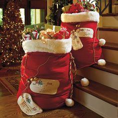 Personalized Santa Bags...love this idea! Santa leaves the presents in the bag on Christmas morning. no need to wrap tons of presents and no risk of santa's wrapping paper being found.