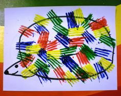 """Preschool Playbook: Prickly Porcupine, fork painting. Use for Helpfulness with Aesop's Fable """"The Tunnel"""""""