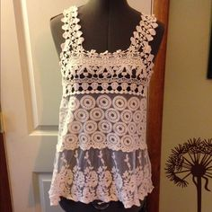 Lace and crochet tank top size small Lace and crochet tank top size small by issi Tops