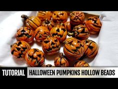 DIY How to make Polymer clay Halloween Pumpkins Hollow beads- Full Process . Video tutorial - YouTube