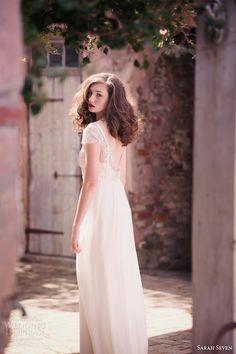 sarah seven spring 2014 bridal la vie cap sleeve wedding dress beaded back