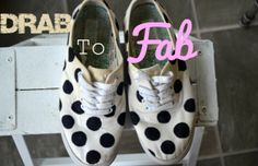 From Drab to Fab: Redo Your Old Shoes I saw a picture of an adorable pair of Kate Spade sneakers the other day. Then I took a look at the price. Yikes!! If you have an old pair of white sneakers and a Sharpie, then you can get the look for wayyyy cheaper. Here is how I transformed my drab shoes into fab shoes!  Locate a dime, a...  Read More at http://www.chelseacrockett.com/wp/diy-2/from-drab-to-fab-redo-your-old-shoes/.  Tags: #Craft, #Diy, #Fashion, #RedoOldShoes, #Sh