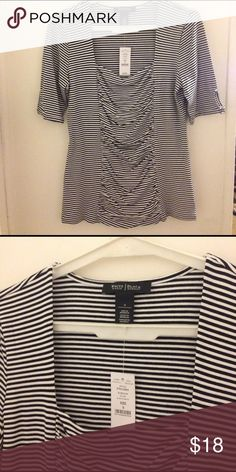 """❗️NWT❗️White House Black Market Ruched Striped Top ❗️ NWT ❗️White House Black Market black and white ruched striped shirt with square neckline  🦋The Deets🦋 ❗️Size Small ❗️Black & White stripes ❗️95% rayon 5% Spandex ❗️25"""" Length ❗️34"""" bust  Reasonable offers accepted!! Check out my other White House Black Market listings! I love to bundle 😎 White House Black Market Tops Blouses"""