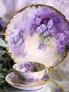 Antique Violets Limoges France Teacup and Saucer c.1900 ~