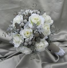Large LUXURY Winter WONDERLAND Bridal bouquet by ericacavanagh, $210.00