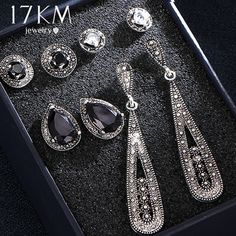 390095a12 Vintage Water Drop Crystal Earrings Set For Woman Black Stone Antique  Silver Color Geometric Round Stud Earrings Jewelry - Fine Jewels Shop