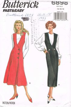 Butterick 6898 - 1990s Sewing Pattern - Size 14/16/18 - Misses' Jumper. jwt